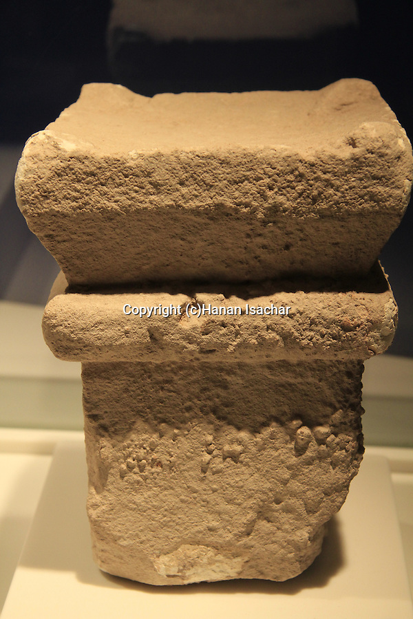 A 7th century BC four horned stone altar from Tel Miqne, site of biblical Ekron at the Corinne Maman Museum of Philistine Culture in Ashdod