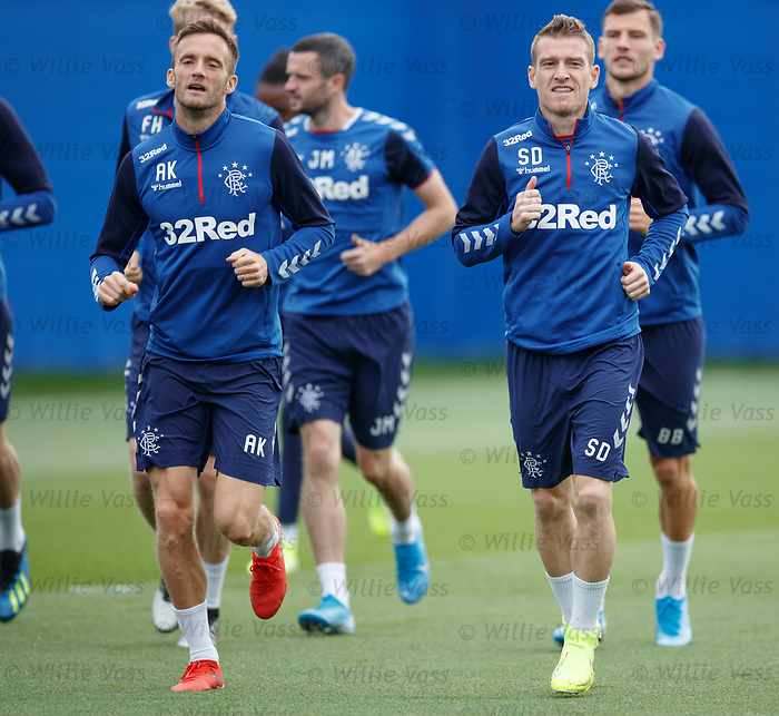 28.08.2019 Rangers training: Andy King and Steven Davis