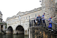 Bath Rugby supporters arrive via the Pulteney Bridge entrance. Aviva Premiership match, between Bath Rugby and Newcastle Falcons on September 10, 2016 at the Recreation Ground in Bath, England. Photo by: Patrick Khachfe / Onside Images