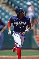 Reading Fightin Phils outfielder Destin Hood (7) runs to first during a game against the Bowie Baysox on July 22, 2015 at Prince George's Stadium in Bowie, Maryland.  Bowie defeated Reading 6-4.  (Mike Janes/Four Seam Images)