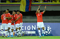 PEREIRA - COLOMBIA, 18-01-2020: Jugadores de Chile celebran después del autogol de Ecuador durante partido de la fecha 1, grupo A, del CONMEBOL Preolímpico Colombia 2020 jugado en el estadio Hernán Ramírez Villegas de Pereira, Colombia. /  Players of Chile celebrate after selfgoal of Ecuador during match of the date 1, group A, for the CONMEBOL Pre-Olympic Tournament Colombia 2020 played at Hernan Ramirez Villegas stadium in Pereira, Colombia. Photo: VizzorImage / Julian Medina / Cont