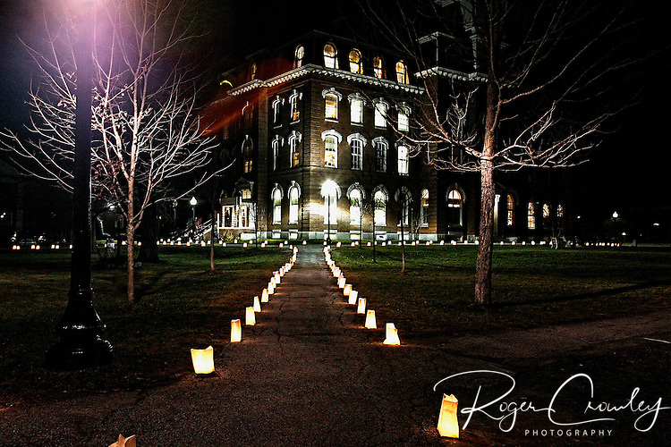 Roger Crowley / CrowleyPhotos.com..View of the walkway leading to College Hall at Vermont College of Fine Arts in Montpelier Vermont. Annual Illumination Night celebration on December 5th.