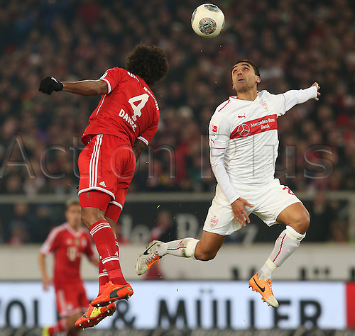 29.01.2014 Stuttgart, Germany.  Mohammed Abdellaoue (VfB) against Dante during the Bundesliga game between VfB Stuttgart v Bayern Munich from the Gottlieb Daimler Stadion.