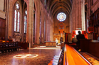 Interior of Grace Cathedral with organist playing organ, San Francisco, California, USA, North America