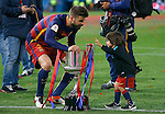 FC Barcelona's Gerard Pique celebrates with his son the victory in the Spanish Kings Cup Final match. May 22,2016. (ALTERPHOTOS/Acero)