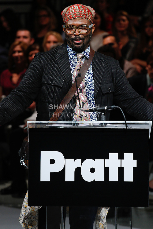 "Fashion designer Byron Lars speaks after accepting his 2014 Pratt Fashion Visionary Award, at the 115th Annual Pratt Institute 2014 ""Under Construction"" collection student runway show;  at Center548 in NYC, on May 1, 2014."