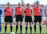 20180307 - LARNACA , CYPRUS :  referees with Ukrainian assistant referee Oleksandra Vdovina (right) , Dutch assistant referee Fijke Hoogendijk ,  Ukrainian referee Anastasia Romanyuk and Finnish assitant referee Heini Hyvonen (left) pictured during a women's soccer game between  Slovakia and the Czech Republic , on Wednesday 7 March 2018 at the GSZ Stadium in Larnaca , Cyprus . This is the final game in a decision for 9 th or 10 th place of the Cyprus Womens Cup , a prestigious women soccer tournament as a preparation on the World Cup 2019 qualification duels. PHOTO SPORTPIX.BE | DAVID CATRY