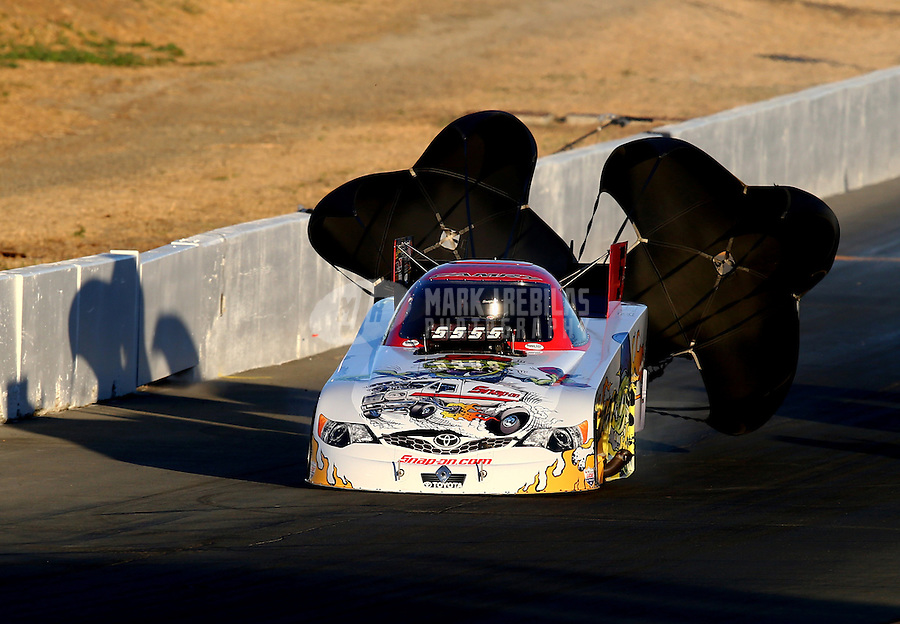 Jul. 25, 2014; Sonoma, CA, USA; NHRA funny car driver Cruz Pedregon during qualifying for the Sonoma Nationals at Sonoma Raceway. Mandatory Credit: Mark J. Rebilas-