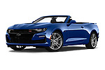 Stock pictures of low aggressive front three quarter view of a 2019 Chevrolet Camaro 2SS 2 Door Convertible