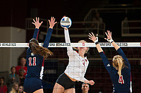 STANFORD, CA - December 1, 2018: Holly Campbell at Maples Pavilion. The Stanford Cardinal defeated Loyola Marymount 25-20, 25-15, 25-17 in the second round of the NCAA tournament.