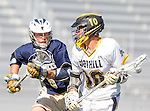 Tustin, CA 04/23/16 - Jake McLean {La Costa Canyon #6) and Chris Reem (Foothill #10) in action during the non-conference CIF varsity lacrosse game between La Costa Canyon and Foothill at Tustin Union High School.  Foothill defeated La Costa Canyon 10-9 in sudden death overtime.