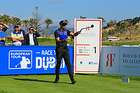 Alvaro Quiros (ESP) breaks his driver during the Pro-Am ahead of the Rocco Forte Sicilian Open played at Verdura Resort, Agrigento, Sicily, Italy 08/05/2018.<br /> Picture: Golffile | Phil Inglis<br /> <br /> <br /> All photo usage must carry mandatory copyright credit (&copy; Golffile | Phil Inglis)