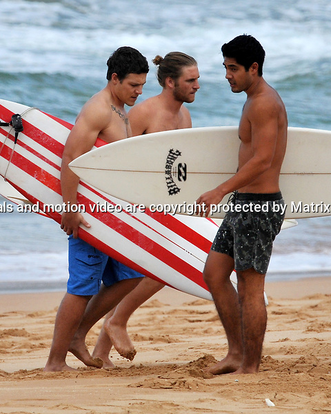 24th July, 2014 SYDNEY AUSTRALIA<br /> EXCLUSIVE <br /> Pictured, Steve Peacocke, Tai Hara and ?  during  filming  at Palm Beach.<br /> <br /> *No internet without clearance*.MUST CALL PRIOR TO USE +61 2 9211-1088. Matrix Media Group.Note: All editorial images subject to the following: For editorial use only. Additional clearance required for commercial, wireless, internet or promotional use.Images may not be altered or modified. Matrix Media Group makes no representations or warranties regarding names, trademarks or logos appearing in the images.