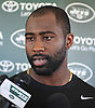 Darrelle Revis #24, New York Jets cornerback, speaks with the media after a day of team training camp at Atlantic Health Jets Training Center in Florham Park, NJ on Friday, July 29, 2016.