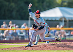 20 August 2017: Connecticut Tigers pitcher Ryan Castellanos on the mound against the Vermont Lake Monsters at Centennial Field in Burlington, Vermont. The Lake Monsters rallied to edge out the Tigers 6-5 in 13 innings of NY Penn League action.  Mandatory Credit: Ed Wolfstein Photo *** RAW (NEF) Image File Available ***