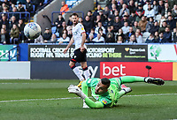 Blackburn Rovers' David Raya saves from Bolton Wanderers' Will Buckley <br /> <br /> Photographer Andrew Kearns/CameraSport<br /> <br /> The EFL Sky Bet Championship - Bolton Wanderers v Blackburn Rovers - Saturday 6th October 2018 - University of Bolton Stadium - Bolton<br /> <br /> World Copyright &copy; 2018 CameraSport. All rights reserved. 43 Linden Ave. Countesthorpe. Leicester. England. LE8 5PG - Tel: +44 (0) 116 277 4147 - admin@camerasport.com - www.camerasport.com