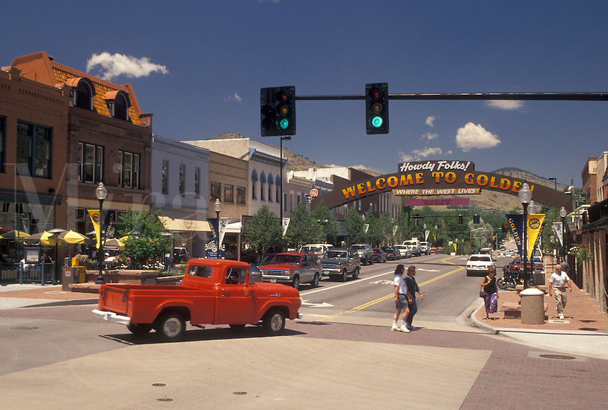 Golden, CO, Colorado, Washington Avenue in downtown Golden.