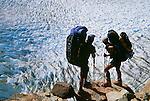 Trekkers crossing patagonian icecap, Los Glaciares National Park, Argentina