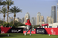 Lucas Bjerregaard (DEN) on the 1st tee during Round 3 of the Omega Dubai Desert Classic, Emirates Golf Club, Dubai,  United Arab Emirates. 26/01/2019<br /> Picture: Golffile | Thos Caffrey<br /> <br /> <br /> All photo usage must carry mandatory copyright credit (© Golffile | Thos Caffrey)