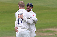 Nick Browne of Essex congratulates Simon Harmer on taking the wicket of Will Rhodes during Warwickshire CCC vs Essex CCC, Specsavers County Championship Division 1 Cricket at Edgbaston Stadium on 10th September 2019