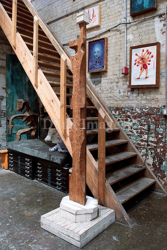 Wooden staircase and artwork