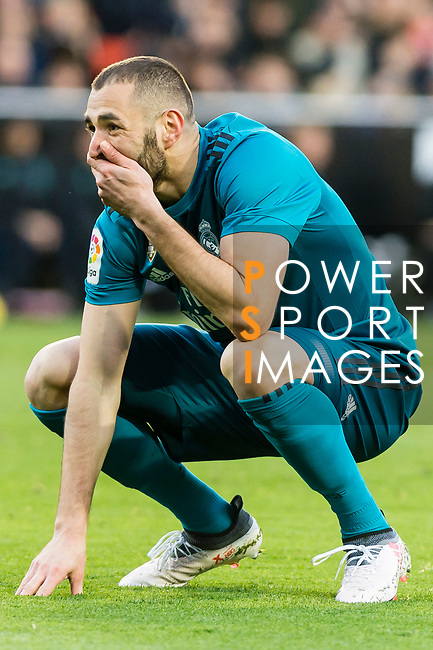 Karim Benzema of Real Madrid reacts during the La Liga 2017-18 match between Valencia CF and Real Madrid at Estadio de Mestalla  on 27 January 2018 in Valencia, Spain. Photo by Maria Jose Segovia Carmona / Power Sport Images