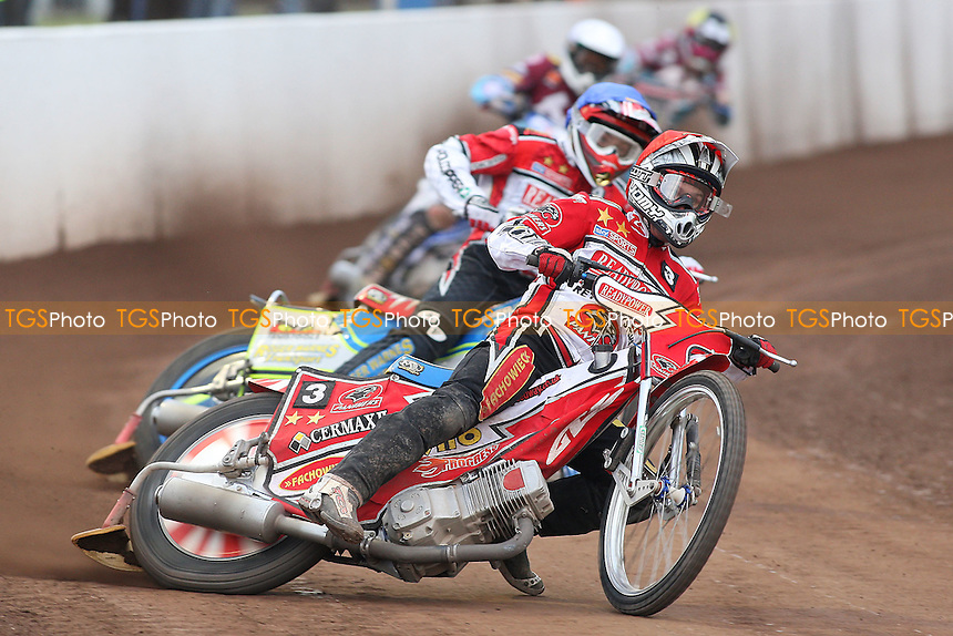 Heat 9: Norbert Kosciuch (red), Troy Batchelor (blue), Piotr Swiderski (white) and Rob Mear - Peterborough Panthers vs Lakeside Hammers - Elite League Speedway at the Showground, Peterborough - 18/07/11 - MANDATORY CREDIT: Gavin Ellis/TGSPHOTO - Self billing applies where appropriate - 0845 094 6026 - contact@tgsphoto.co.uk - NO UNPAID USE.