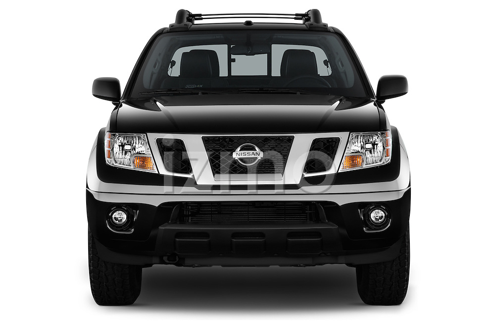 Car photography straight front view of a 2016 Nissan Frontier PRO-4X-Crew-Cab 4 Door Pickup Front View