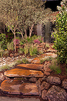 "Stepping stone path through ""No Water for this Garden"" exhibit garden by New Leaf Landscapes at San Francisco Flower & Garden Show 2014"