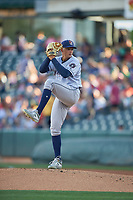 Round Rock Express starting pitcher Brandon Bielak (12) delivers a pitch to the plate against the Salt Lake Bees  at Smith's Ballpark on June 10, 2019 in Salt Lake City, Utah. The Bees defeated the Express 9-7. (Stephen Smith/Four Seam Images)