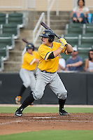 Taylor Gushue (17) of the West Virginia Power at bat against the Kannapolis Intimidators at Intimidators Stadium on July 2, 2015 in Kannapolis, North Carolina.  The Power defeated the Intimidators 5-1.  (Brian Westerholt/Four Seam Images)