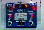 2 November 2014: The scoreboard shows the final score of the 5th and deciding set between the visiting Yeshiva University Maccabees and the Sarah Lawrence Gryphons at SUNY Purchase College, in Purchase, NY. The Maccabees defeated the Gryphons 3-2 in the NCAA Division III Women's Volleyball Skyline matchup. Mandatory Credit: Ed Wolfstein Photo *** RAW (NEF) Image File Available ***