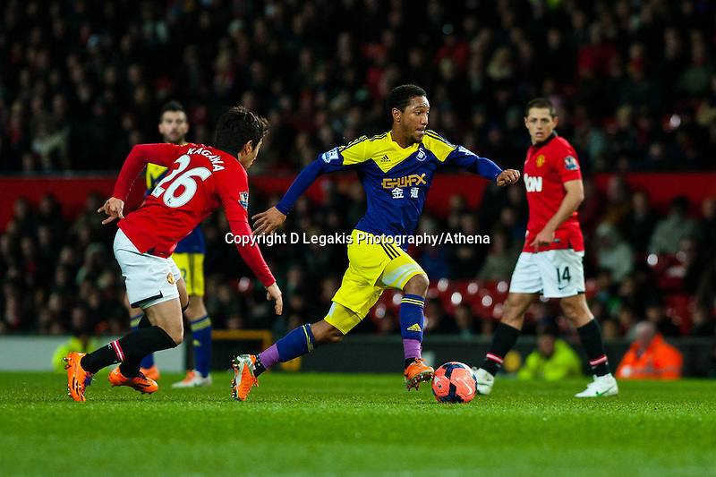 Sunday 05 January 2014<br /> Pictured: Jonathan de Guzman makes a run for goal<br /> Re: Manchester Utd FC v Swansea City FA cup third round match at Old Trafford, Manchester