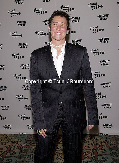 k.d. Lang arriving at The 12th GLAAD Awards honoring individuals and projects for their representations of Gay, Lesbians, Bisexual and Transexual at the Century Plaza in Los Angeles  4/29/2001  © Tsuni          -            Lang.k.d.03.jpg