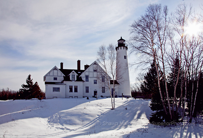 Pt Iroquois Lighthouse winter lighthouses in the Upper Peninsula of Michigan