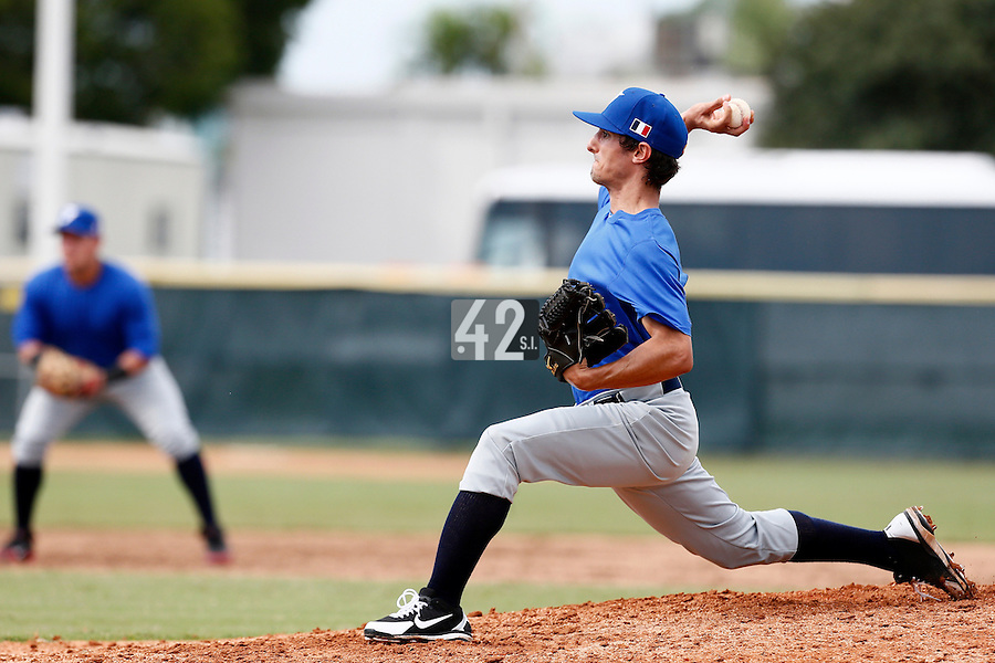 19 September 2012: Eloi Secleppe pitches during Team France friendly game won 6-3 against Palm Beach State College, during the 2012 World Baseball Classic Qualifier round, in Lake Worth, Florida, USA.