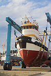 Port Townsend, Boyer Towing, tugboat Norma H, on travel lift, Port of Port Townsend, shipyard,  Jefferson County, Olympic Peninsula, Washington State, Pacific Northwest, USA,