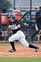 GCL Yankees 1 second baseman Ryan Lindemuth (2) at bat during the second game of a doubleheader against the GCL Braves on July 1, 2014 at the Yankees Minor League Complex in Tampa, Florida.  GCL Braves defeated the GCL Yankees 1 by a score of 3-1.  (Mike Janes/Four Seam Images)