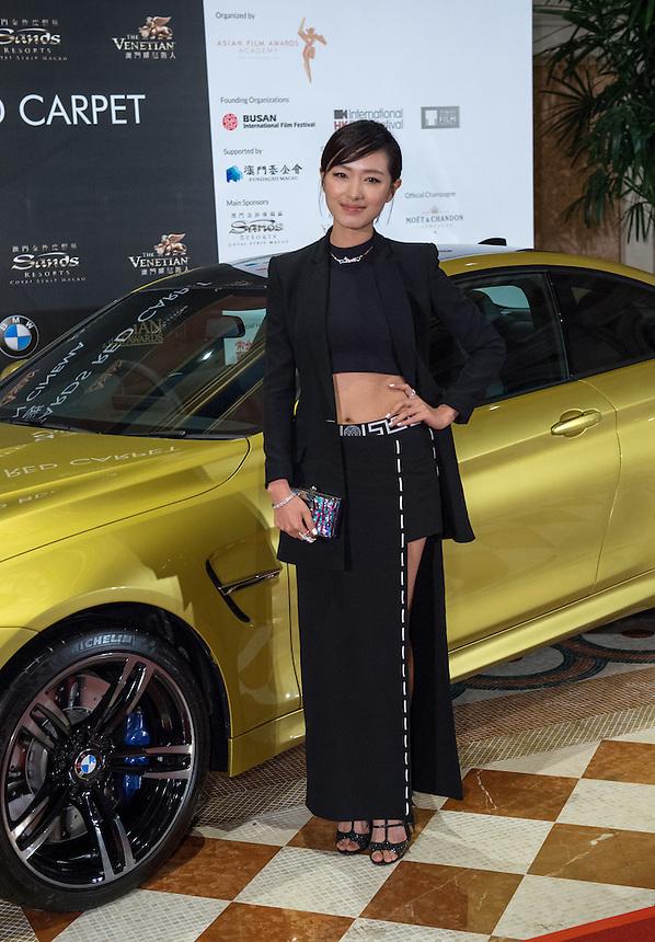Taiwanese actress Wan Qian poses at 9th Asian Film awards at the Venetian Macau.25.03.15. 25th March 2015.<br /> Pic Jayne Russell +852 97578607.