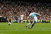 1st October 2017, Santiago Bernabeu, Madrid, Spain; La Liga football, Real Madrid versus Espanyol; Francisco Roman Alarcon (22) Real Madrid seen scoring his team´s goal