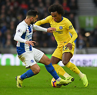 Brighton &amp; Hove Albion's Martin Montoya (left) battles with Chelsea William (right) <br /> <br /> Photographer David Horton/CameraSport<br /> <br /> The Premier League - Brighton and Hove Albion v Chelsea - Sunday 16th December 2018 - The Amex Stadium - Brighton<br /> <br /> World Copyright &copy; 2018 CameraSport. All rights reserved. 43 Linden Ave. Countesthorpe. Leicester. England. LE8 5PG - Tel: +44 (0) 116 277 4147 - admin@camerasport.com - www.camerasport.com