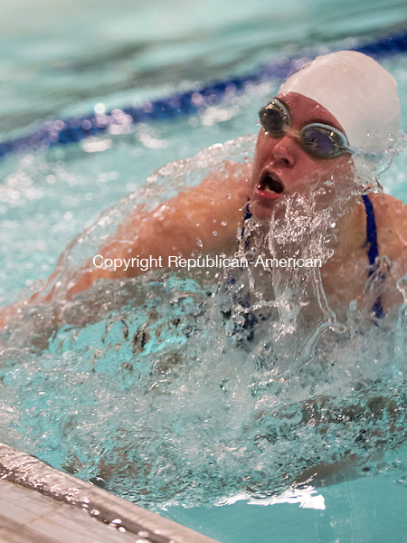 WASHINGTON, CT- 7 January 2015-010716EC06-   Shepaug's Amber Wright makes a turn, going into the last leg of the 100 Breastroke event. She won with a time of 1:19.84. Shepaug won the meet over Housatonic, 97-70, Thursday in Washington. Erin Covey Republican-American
