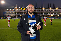 Man of the Match Tom Dunn of Bath Rugby with his bottle of Pol Roger champagne. Aviva Premiership match, between Bath Rugby and Gloucester Rugby on October 29, 2017 at the Recreation Ground in Bath, England. Photo by: Patrick Khachfe / Onside Images