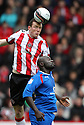 Neill Collins of Sheffield United beats Patrick Agyemang of Stevenage (on loan from QPR) to a header. - Sheffield United v Stevenage - npower League 1 - Bramall Lane, Sheffield  - 28th April, 2012. © Kevin Coleman 2012