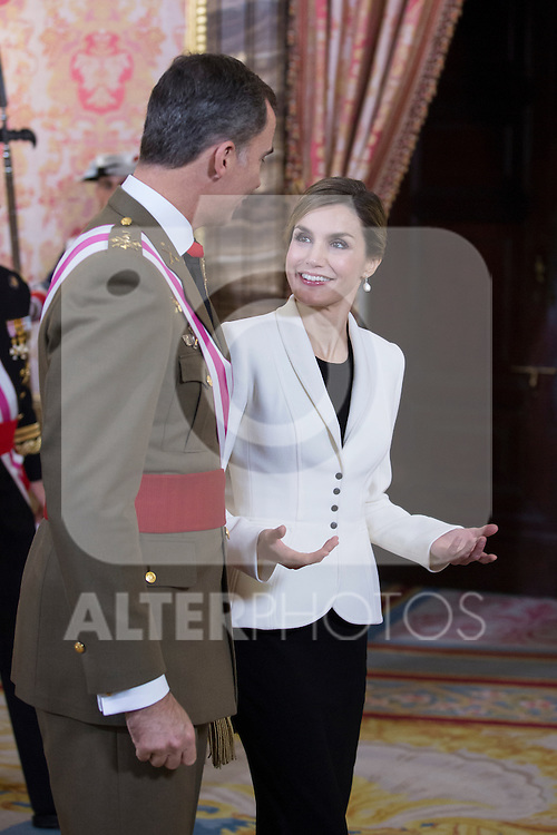 Queen Letizia of Spain talks to King Felipe VI of Spain during the Military Eastern (Pascua Militar) at the Royal Palace in Madrid, Spain. January 06, 2015. (ALTERPHOTOS/Pool)