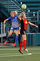 Rochester, NY - Friday May 27, 2016: Boston Breakers midfielder Louise Schillgard (10) goes up for a header with  Western New York Flash defender Abigail Dahlkemper (13). The Western New York Flash defeated the Boston Breakers 4-0 during a regular season National Women's Soccer League (NWSL) match at Rochester Rhinos Stadium.