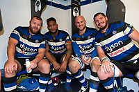 Scott Andrews, Levi Douglas, Matt Garvey and James Phillips of Bath Rugby pose for a photo in the changing rooms after the match. Anglo-Welsh Cup match, between Bath Rugby and Leicester Tigers on November 10, 2017 at the Recreation Ground in Bath, England. Photo by: Patrick Khachfe / Onside Images