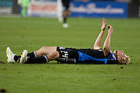 San Jose Earthquakes forward Steven Lenhart (24) lays on the ground after missing the pass. The San Jose Earthquakes defeated the Houston Dynamo 2-0 at Buck Shaw Stadium in Santa Clara, California on June 4th, 2011.