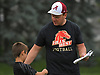 Kyle Madden, Half Hollow Hills West head coach, spends time on the field with his seven-year-old son, Owen, during football practice at Hofstra University on Sunday, June 18, 2017. Team Long Island will face its New York City counterpart in the 22nd annual Empire Challenge at Hofstra on Wednesday, June 21 at 7:00PM.