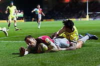 Tim Visser of Harlequins scores the opening try of the match. Aviva Premiership match, between Harlequins and Sale Sharks on October 6, 2017 at the Twickenham Stoop in London, England. Photo by: Patrick Khachfe / JMP